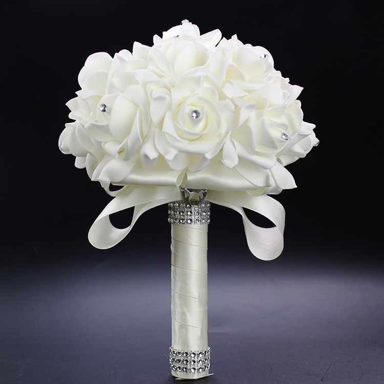 2019 Cheap Prom Baby Blue Flower Brooch Wedding Bouquet De Mariage Wedding Bouquets PE Rose Diamond Ribbon Bouquet AA30