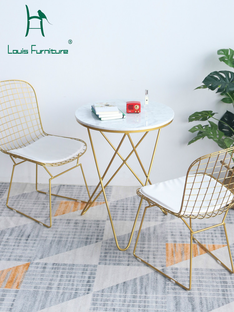 Louis Fashion Living Room Chairs Iron Gold Dining Northern