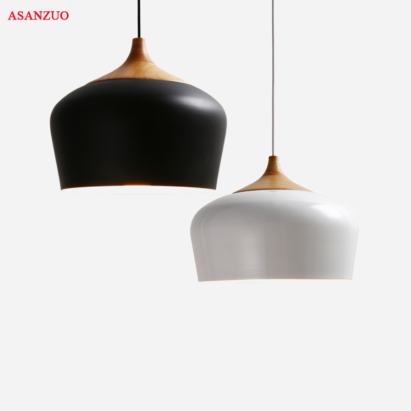 Modern Pendant Light Black/white Retro Droplight Bar Cafe Bedroom Restaurant American Country Style Hanging Lamp Dia 30cm