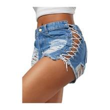 Женские студенческие летние модные джинсовые шорты с дырками и отворотами, обтягивающие брюки, Feminino, сексуальная высокая посадка, ремень, джинсовые шорты