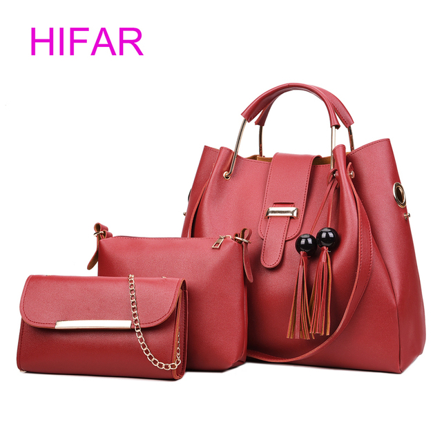 6fb762658c12 2018 tassels 3 Sets Women Handbags Large Capacity Composite Bag Female PU  Leather Soft Tote Bags New Shoulder Crossbody Bag