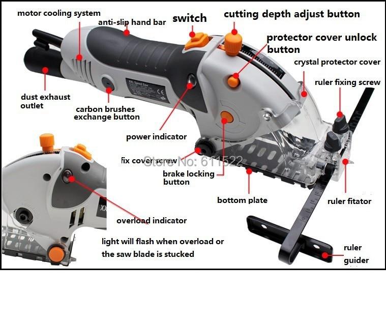 ФОТО xxl speed tool  SAW 650W MINI HAND SAW EXPORT QUALITY ELECTRICAL SAW WITH LASER LIGHT DEVICE 7 BlADE SAW FREElY