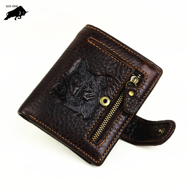 603a12407b2f US $10.99 |ZYD COOL Wolf Head Genuine Cow Leather Men Wallet Coin Pocket  Brand Wild Nature Design Men Purse Top Layer Male Card ID Holder-in Wallets  ...