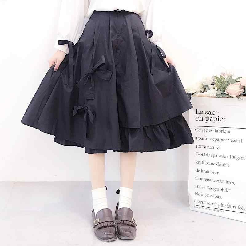 1c1bb7a1c Qiukichonson Lolita Bowknot alta cintura mujeres Falda plisada 2019 moda  coreana Irregular vestido de baile lindo volante negro Falda Midi