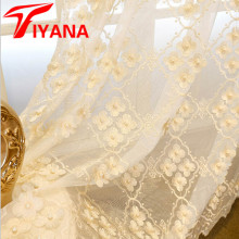Romantic Floral Tulle Voile For Living Room Door Pearl Embroidered Window Curtain Drape Panel Sheer Scarf Valances P369Z30