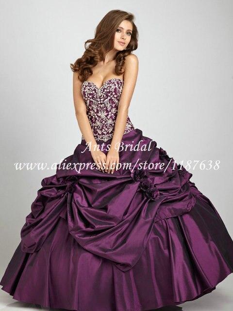06e0a4faa0e 2015 Appliques Corset Sweetheart Taffeta Fabric Dark Purple Quinceanera  Dresses Ball Gowns Prom Dress PX597 Sweet 16 Dresses