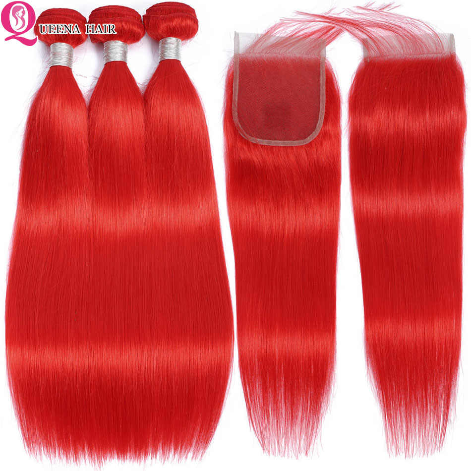 Red Hair Bundles With Closure Straight Hair Bundles With Closure Colored Peruvian Human Hair Bundles 4*4 Closure Remy Hair Weave