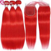 Красные пучки волос с закрытием прямые пучки волос с закрытием цветные перуанские человеческие пучки волос 4*4 закрытие remy волосы переплете...
