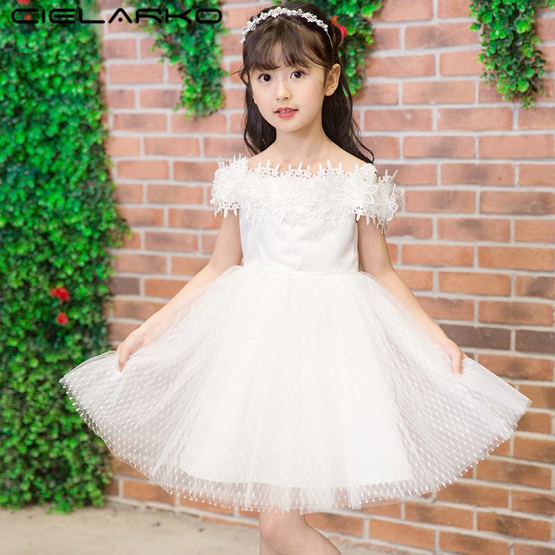 Cielarko Elegant Girls Dress White Strap Formal Princess Ball Gown Fashion Kids Summer Frock Off Should Children Party Dresses fashion 2016 summer dress party dresses women print corset vintage spaghetti strap full dress suspenders dress woman s gown