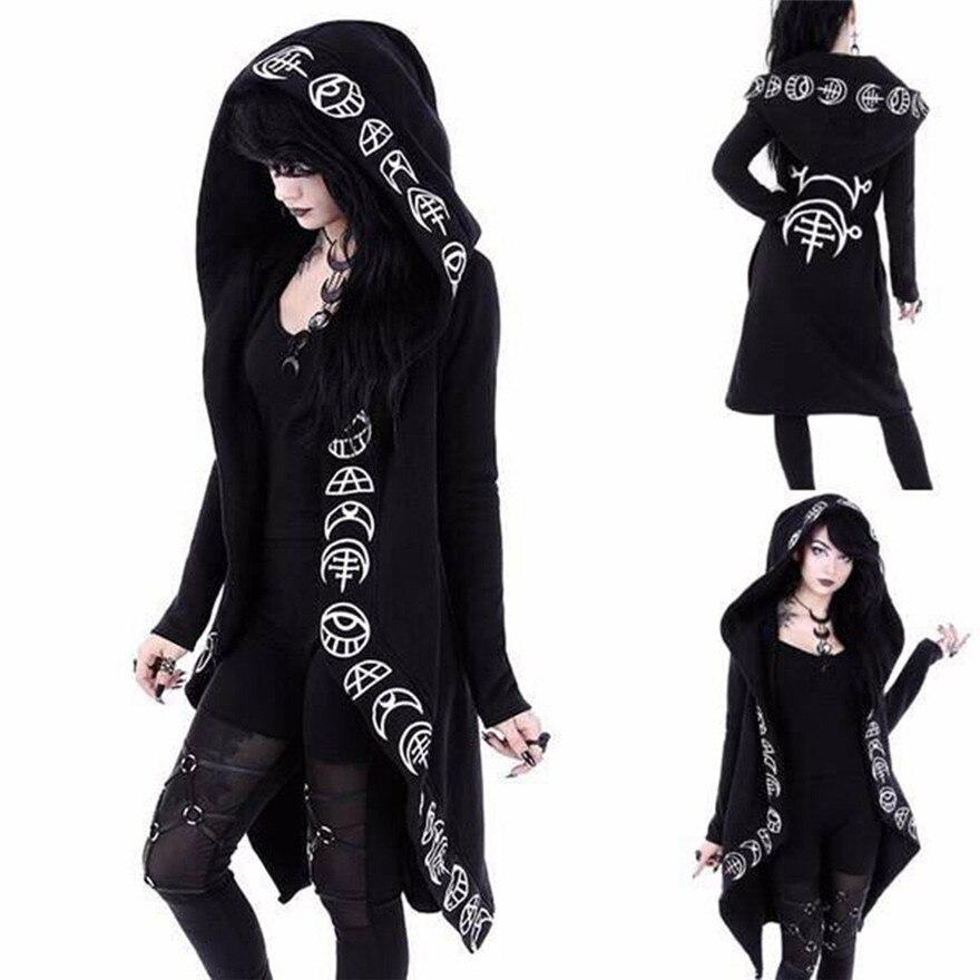 Women Long Sleeve Punk Print Hooded Black Cardigan Jacket Coat Plus Size Fashion Outwear Coats #1212 A#487