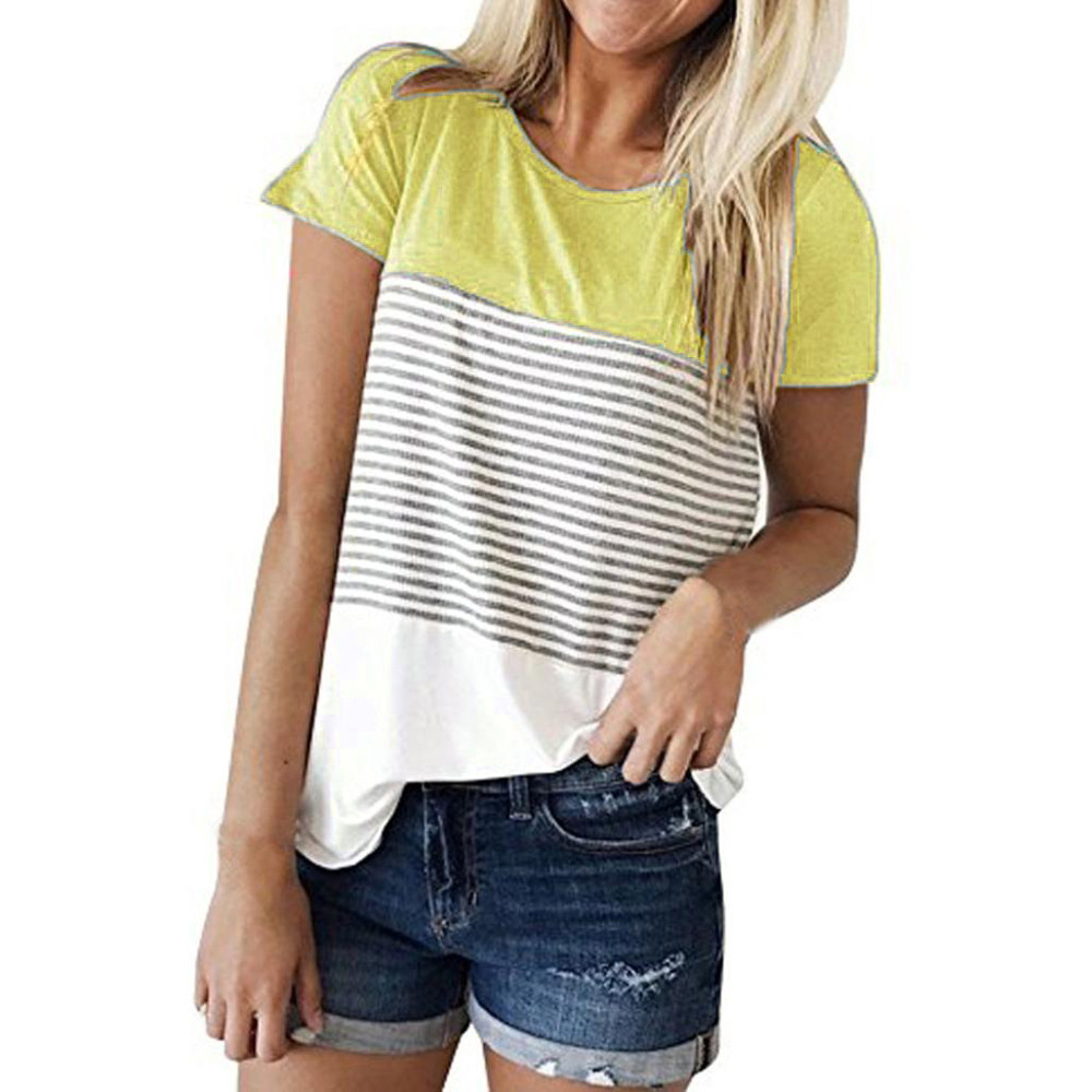 US $5.28 35% OFF|Women Short Sleeve Triple Color Block Stripe T shirt 2018 in T Shirts from Women's Clothing on AliExpress