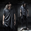 Men's hip hop sleeveless vest waistcoat open cardigan male irregular shawls costume vest with pockets