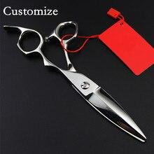 אישית יוקרתי חדש גרמניה 440c 6 inch ערבה לחתוך מספריים חיתוך שיער ברבר מספריים כלים ספר makas חם