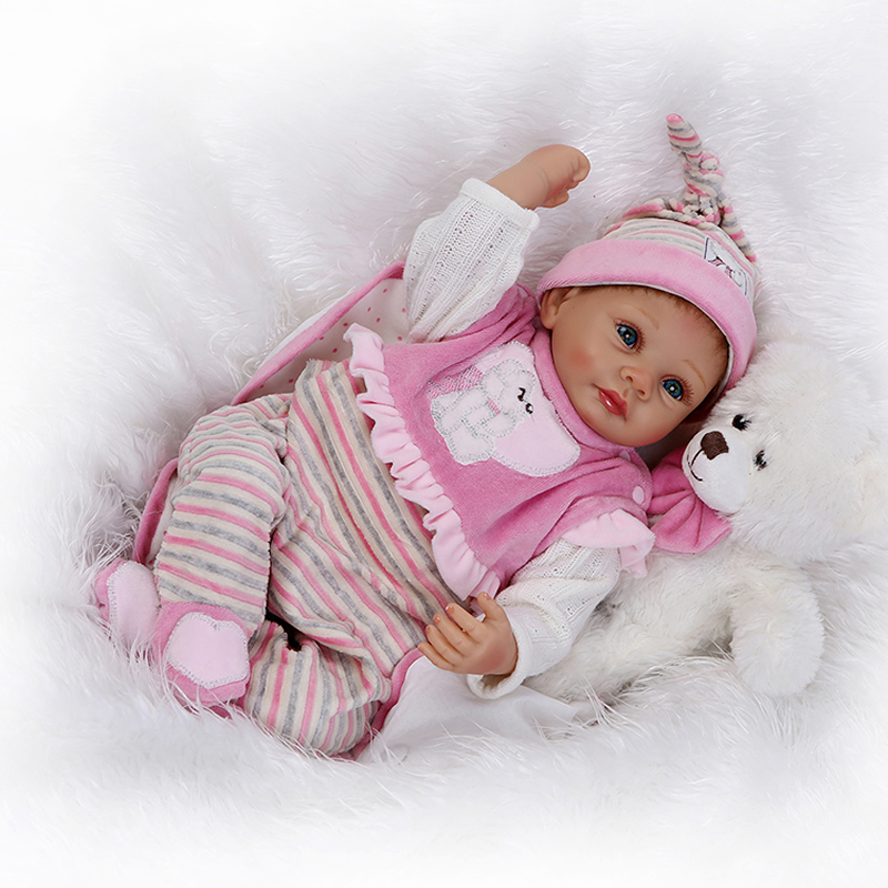 Collectible Newborn Baby Doll Lifelike Silicone Reborn Dolls For Kids Birthday Xmas Gift handmade 22 inch newborn baby girl doll lifelike reborn silicone baby dolls wearing pink dress kids birthday xmas gift