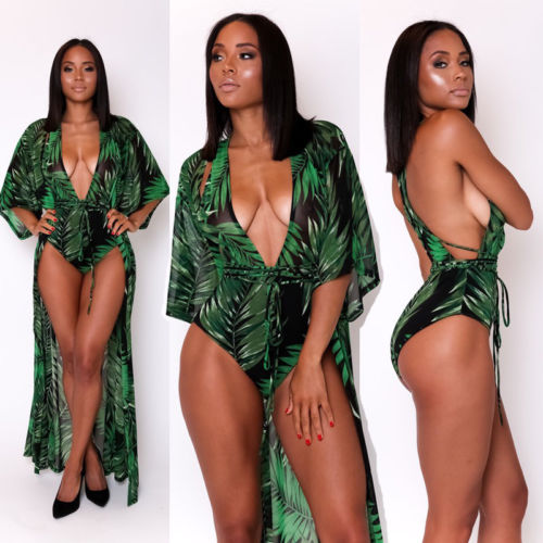 2PCS Summer Beach Sexy Women Club wear Long Sleeve Green Print Long Maxi Dress Party Jum ...