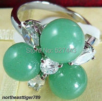 Wholesale FREE SHIPP >Excellent Natural Light Green stone 3 Beads 18KWGP Crystal Ring size: 6.7.8.9