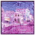 2016 Silk Scarves Van Gogh Painting Castle Building Pattern Wholesale Small Square Lady