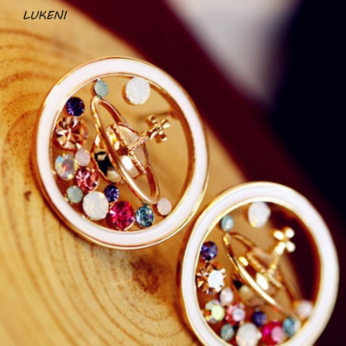1Pair Hot sale High Quality Novelty Universe Planet stud earrings Saturn earings fashion jewelry rhinestone earrings for women ...