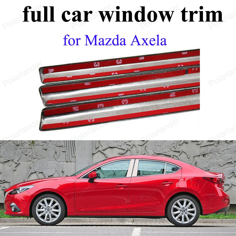 Stainless steel Car Styling Decoration sill frame For M azda Axela full Window Trim with center pillar|car window frame|steel window frames|stainless steel pillars - title=