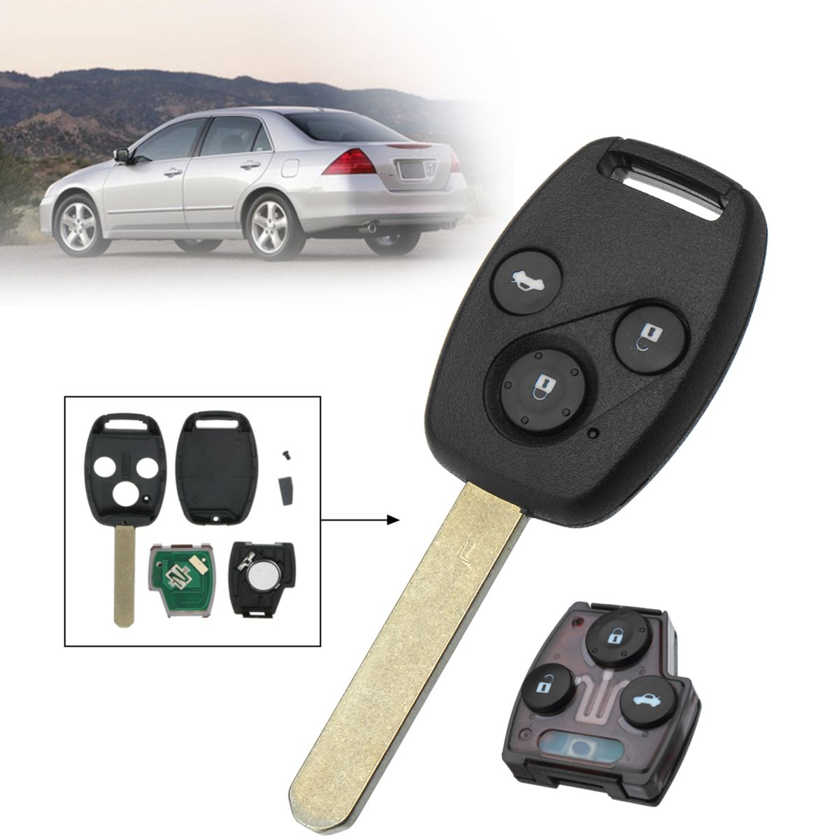 3 Buttons 313.8Mhz HON66 CR1616 Car Remote Key Fob Case Shell with ID46 Chip For Honda/Accord/Civic Fit 2003 2004 2005 2006 2007 jignyuqin 3 buttons remote key shell for honda accord insight crv civic odyssey pilot ridgeline car alarm keyless entry fob case
