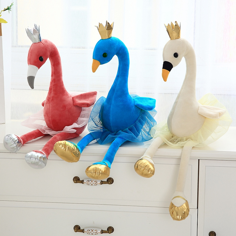 BABIQU 1pc 38/60 Flamingos Swan Crown Dress Shoes blue red white Cartoon Modelling Plush Toy Soft Stuffed Animal Child Cute Gift