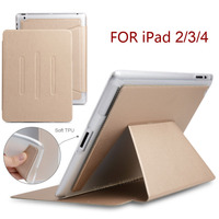 Stand Card Package Case For IPad 2 3 4 PU Leather Front Cover Soft TPU Magnetic
