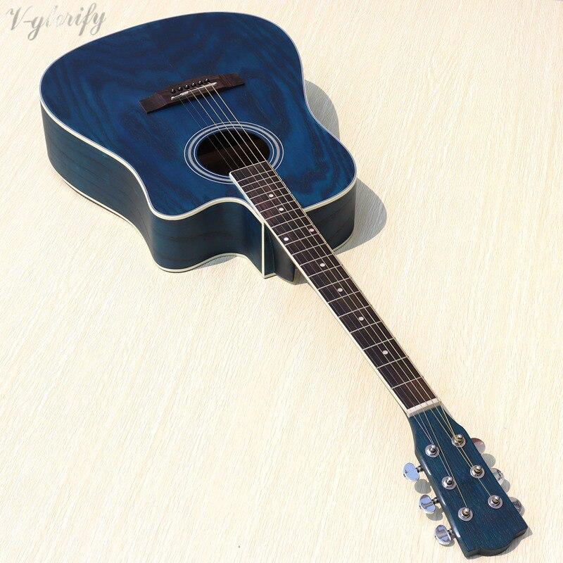 blue color dreadnought electric acoustic guitar 41inch