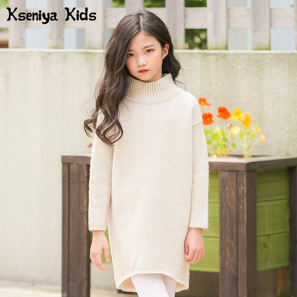 Kseniya Kids Sweaters Long Style Wool High Collar Knitted Autumn Winter Girl Sweater pink perkins collar knitted thin jumper