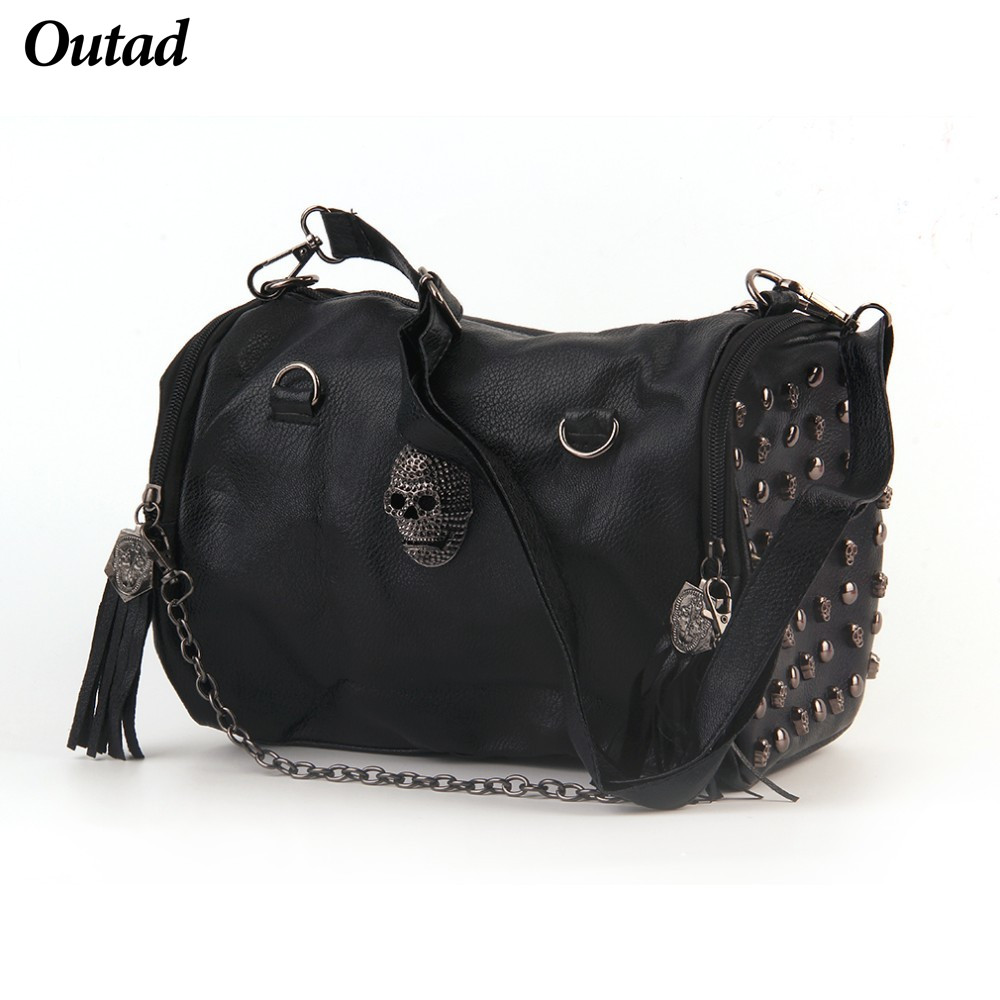 OUTAD new 2017 European and American Style Women Tassel Skull Chain Tote Bag PU Leather Handbags Messenger New Years Gift 2017 autumn european and american fashion women s handbags high end atmosphere banquet tote bag dhl speedy shipping
