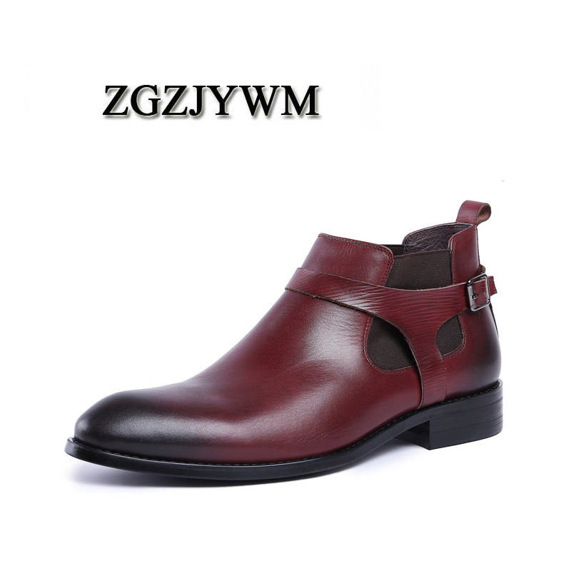 Zgzjywm on Formal Black Leder Schwarz Ankle Business Stiefel rot Slip red Spitz Klassische Atmungsaktive Wine Männer Mode Echtem Büro nrnf4