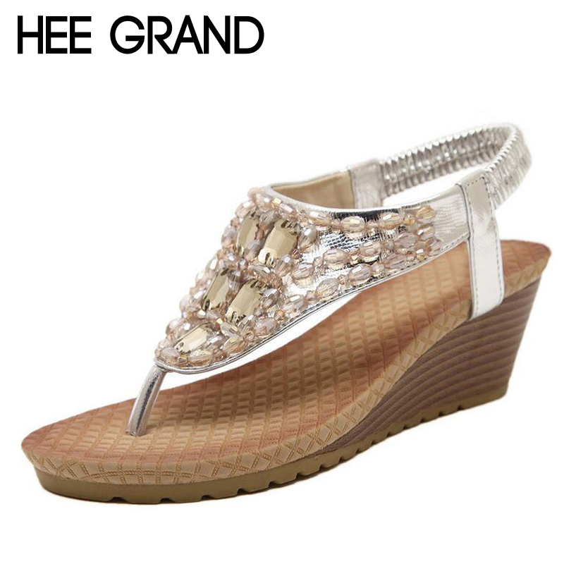 HEE GRAND Summer Wedges Sandals With Rhinestone Crystal Bling Flip Flops Fashion Platform Wedge Shoes Woman Size 35-40 XWZ896 hee grand casual wedges sandals 2017 summer beach women shoes platform buckle comfort creepers fashion shoes woman xwz3812
