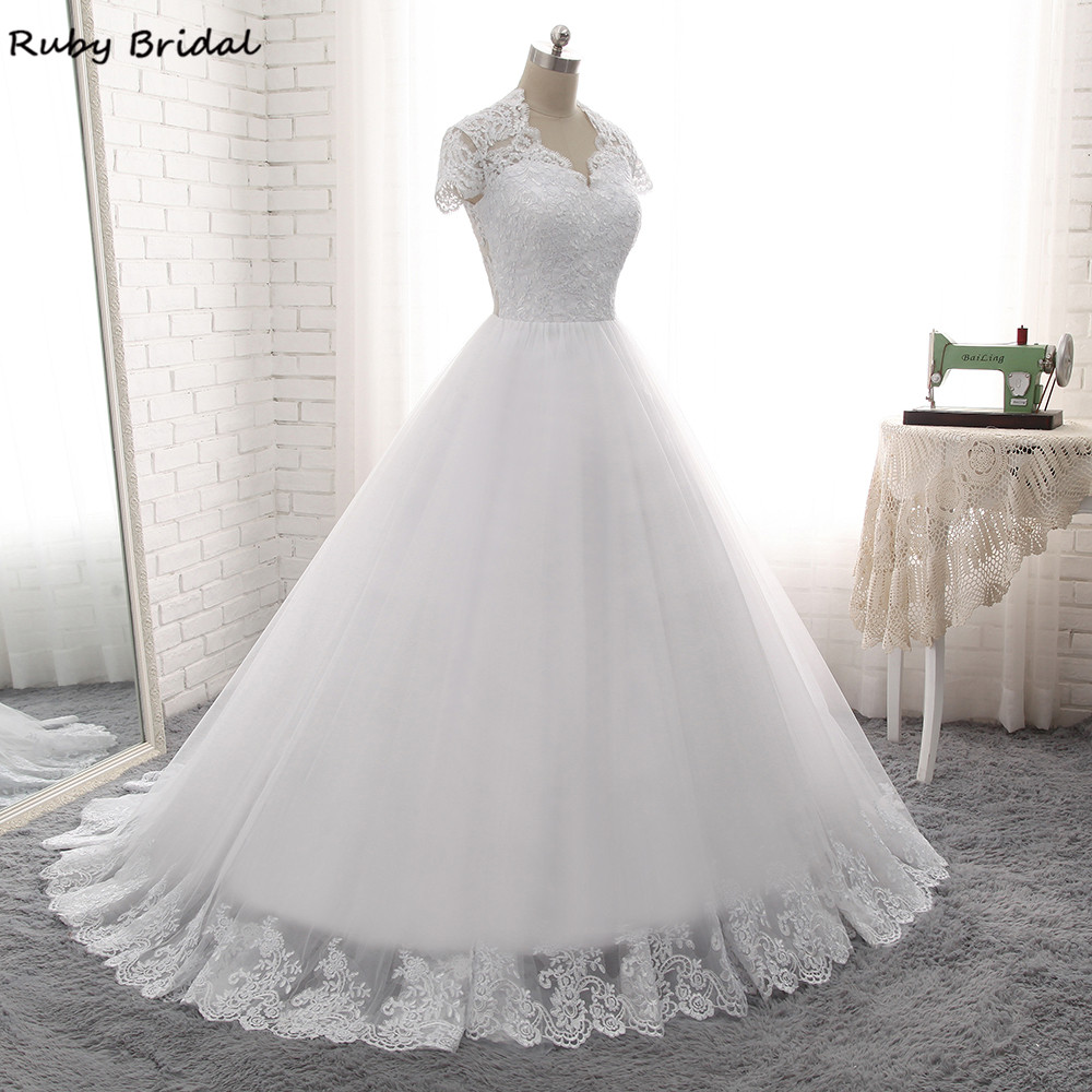 Cap Sleeve Sweetheart Appliques Floor-length White Long Wedding Dress