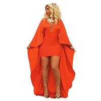 Sólido Naranja Veneciano Bat Manga Cuello En V Profundo Vestido de Fiesta Lápiz Señoras Del Partido de Tarde Vestidos Maix S-XL