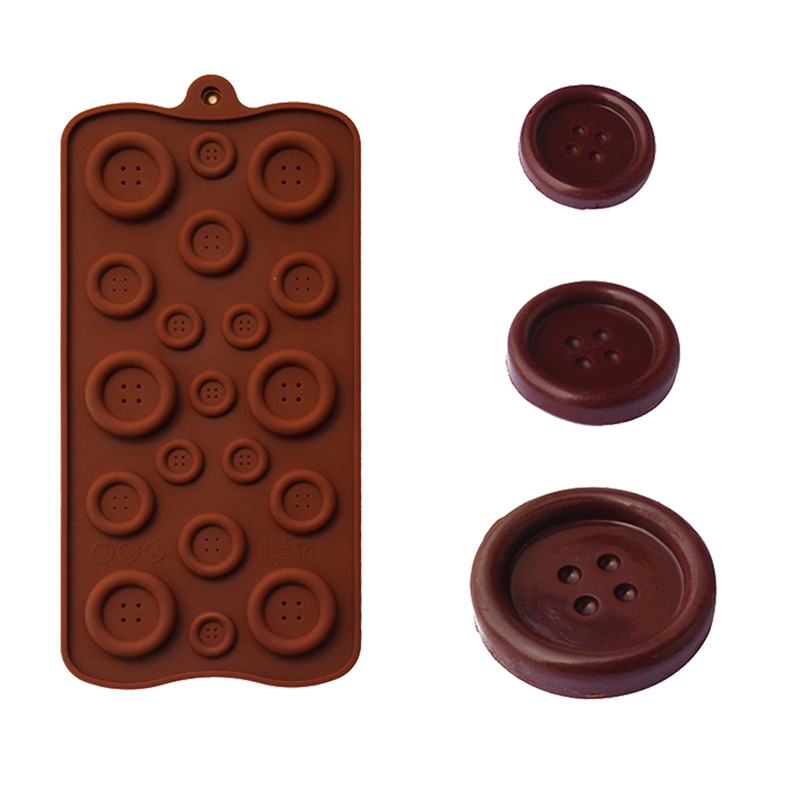 Button Shaped 3D Silicone Mold DIY Fondant Mold Baking Tool Chocolate Cookies Pastry Candy Jelly Decor Kitchen Tool Random Color