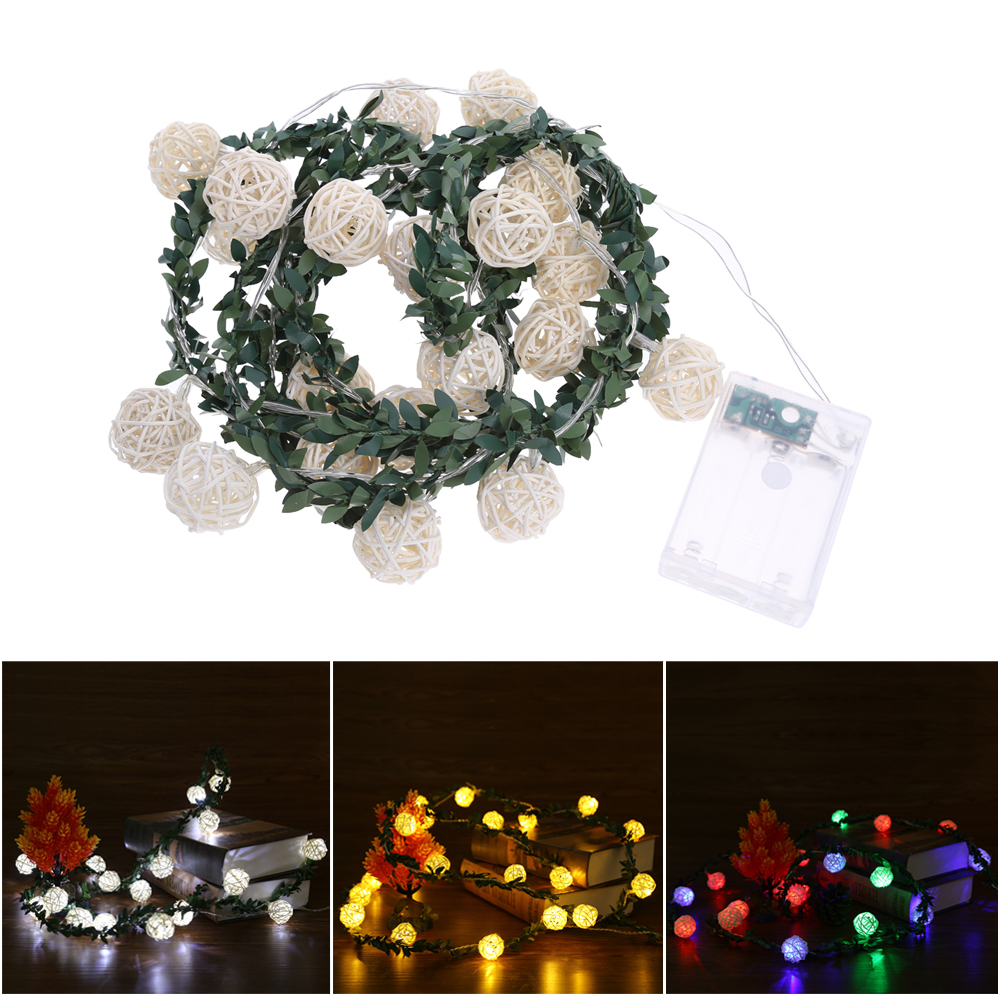 2M Rattan Ball Led String Lights Waterproof LED Garden Light Holiday Light Outdoor Lighting Lamp for Party Christmas Fairy