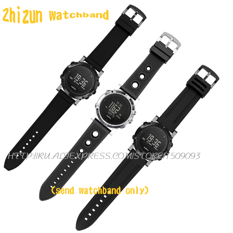 24mm full black suunto watch strap rubber suunto song Billiton core CORE series waterproof rubber watchband movement цена