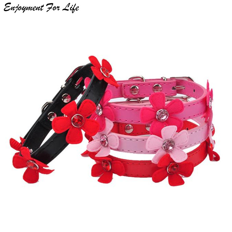 Dog Collars For Small Dogs Collar Bling Crystal With Flowers Necklace Pet Puppy Cat Rhinestone Decor Pet Collars XS S M L 3D30