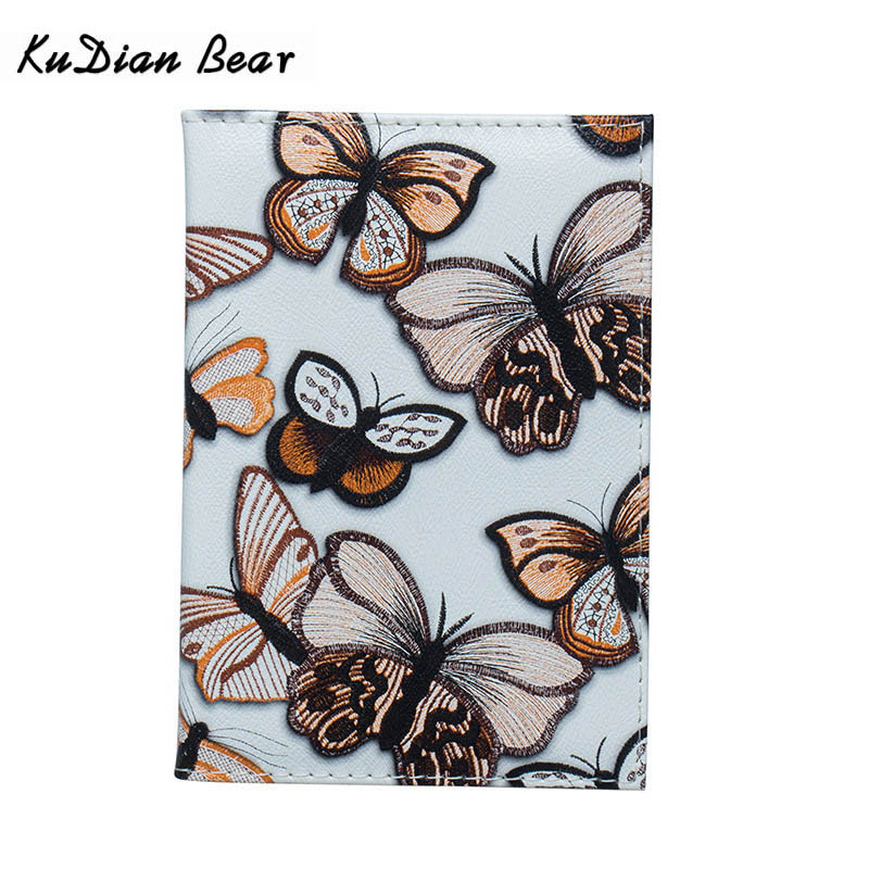 KUDIAN BEAR Women Passport Cover Wallet Butterfly Printing Waterproof Card Holder Leather Travel Passport Holder BIY048 PM49