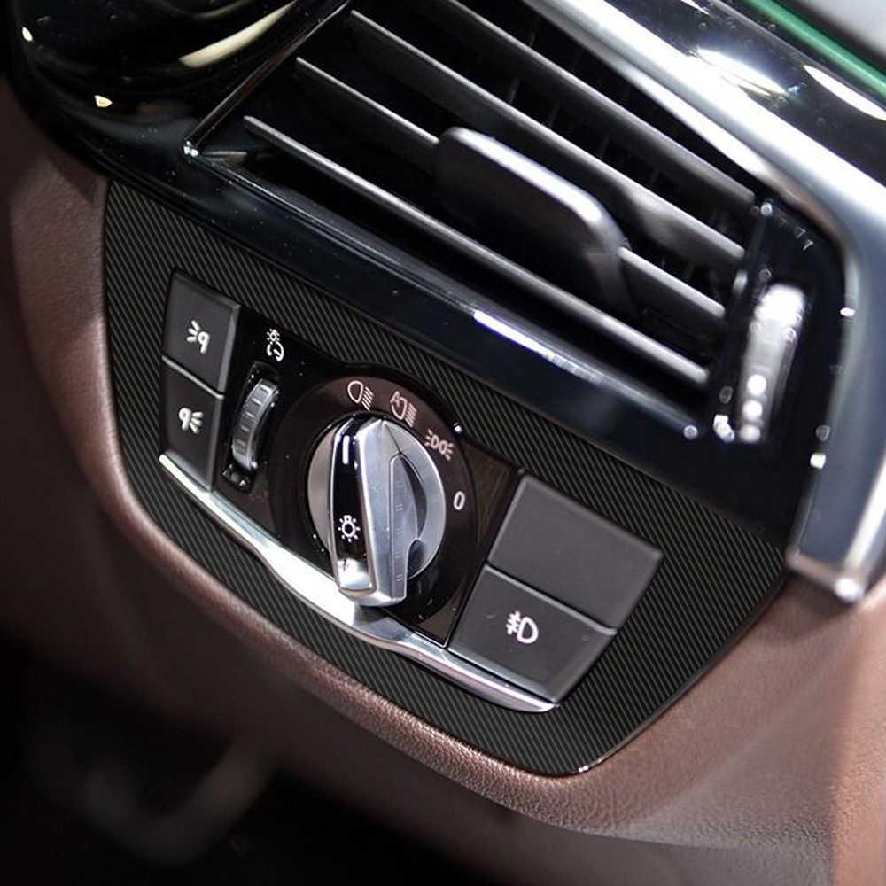 RHD 5D คาร์บอนไฟเบอร์ไวนิลตกแต่งภายใน Central คอนโซลควบคุม Outlet แผงฟิล์มสติกเกอร์รูปลอกสำหรับ BMW G30 G31 อุปกรณ์เสริม