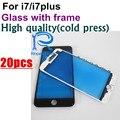20 pcs premium aaa qualidade da imprensa fria para iphone 7 7g/7 além disso Frente Outer Lente de Vidro com Moldura Quadro Médio preto branco Substituir