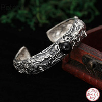 Punk Rock Double Dragon opening Bangle 925 sterling silver Bracelet Bangle for Men jewelry famoubrand Black Onyx stone Bracelet