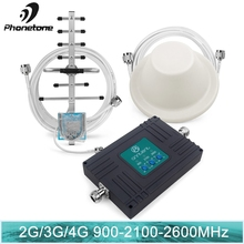 4G LTE 2600 2G 3G Mobile Cellular Signal Booster 70dB GSM 900 WCDMA 2100 Cell Phone Repeater Antennas Russia