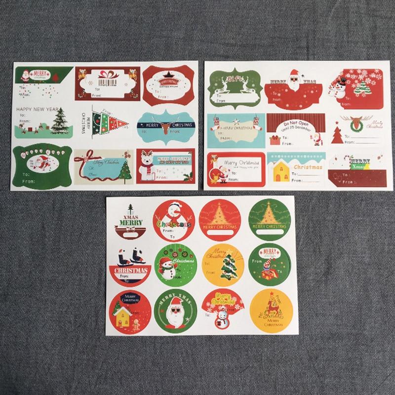 Купить с кэшбэком 10sheet/lot Christmas Theme Multifunction Paper Adhesive Sealing Sticker DIY Handmade Gifts Package Decorative Label Stickers