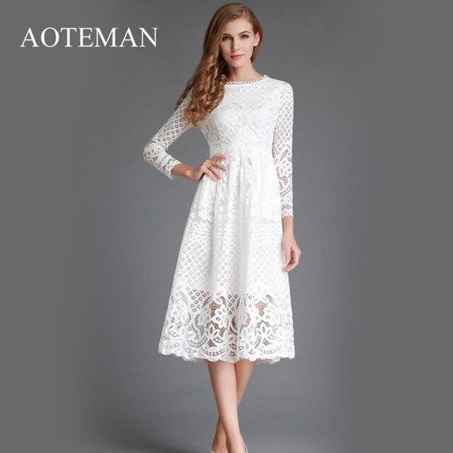 d41b95c242fef AOTEMAN Autumn Winter Dress Women Elegant Vintage Long White Lace Sexy Slim  Solid Hollow Out A Line Party Ladies Dresses
