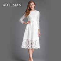 AOTEMAN Autumn Winter Dress Women Elegant Vintage Long White Lace Dress Sexy Slim Solid Hollow Out A Line Party Ladies Dresses