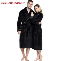 Soft Extra Long Men Women Warm Coral Flannel Bath Robe Mens Kimono Bathrobe Male Dressing Gown Lovers Winter Warm Sleep Robes