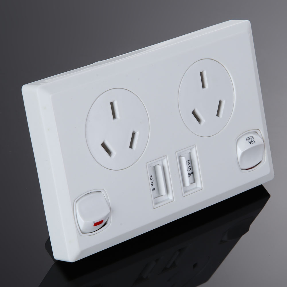 Double USB Australian AU Plug Electrical Wall Socket Home Power ...