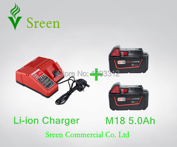 2PCS 18V 5000mAh Rechargable Lithium Ion Power Tool Battery Packs with Charger Replacement for Milwaukee M18 XC 48-11-1828 M18B power tools replacement li ion battery charger electric screwdriver lithium ion battery charger for milwaukee m12 m18 ac110 230v