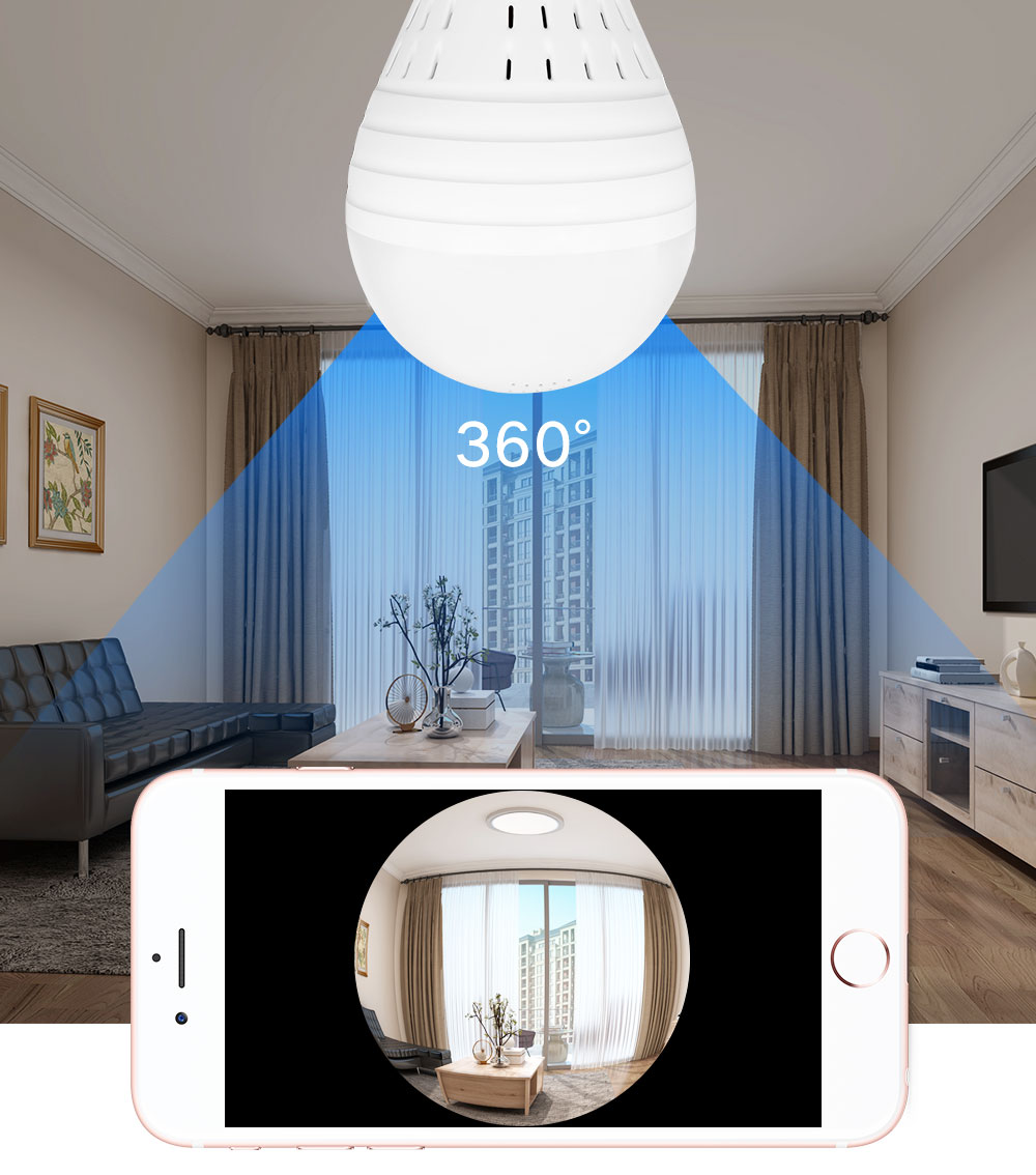 1080 P лампочки Беспроводной IP Камера 3,0 МП 360 градусов панорамный FishEye видеонаблюдения Камера Wi Fi P2P обнаружения движения IP Камера - 2