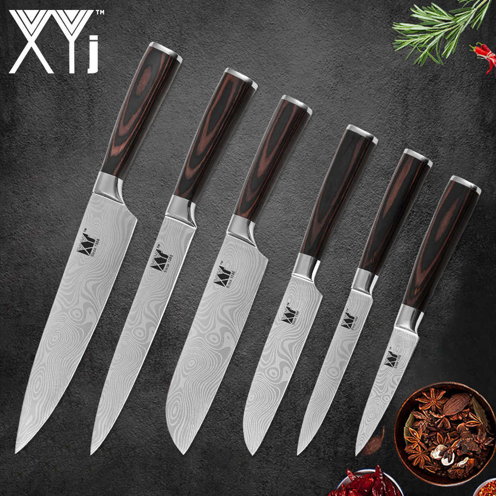 XYj 6 Piece Stainless Steel Kitchen Beauty Pattern Sharp Blade Bend Non-slip Handle Chef Slicing Santoku Utility Paring Knife